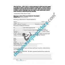 Bill of Sale of Boat Vessel - Colorado (Sold without Warranty)