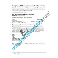 Bill of Sale of Boat Vessel - Florida (Sold without Warranty)