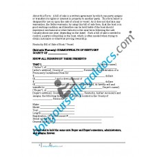 Bill of Sale of Boat Vessel - Kentucky (Sold with Warranty)