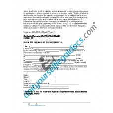 Bill of Sale of Boat Vessel - Louisiana (Sold with Warranty)