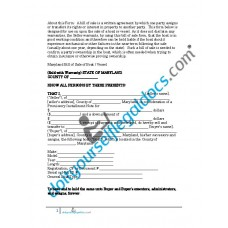 Bill of Sale of Boat Vessel - Maryland (Sold with Warranty)