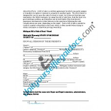 Bill of Sale of Boat Vessel - Michigan (Sold with Warranty)