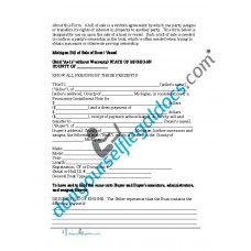 Bill of Sale of Boat Vessel - Michigan (Sold without Warranty)