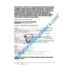 Bill of Sale of Boat Vessel - Missouri (Sold with Warranty)