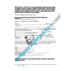Bill of Sale of Boat Vessel - South Carolina (Sold without Warranty)