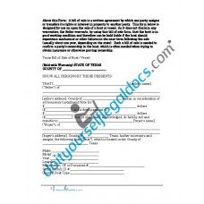 Bill of Sale of Boat Vessel - Texas (Sold with Warranty)