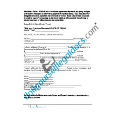 Bill of Sale of Boat Vessel - Texas (Sold without Warranty)