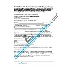 Bill of Sale of Motor Vehicle  Arizona (Sold without Warranty)