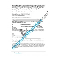 Bill of Sale of Motor Vehicle Automobile - Colorado (Sold with Warranty)