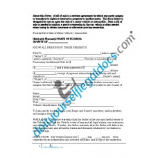 Bill of Sale of Motor Vehicle Automobile - Florida (Sold with Warranty)