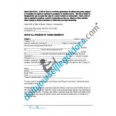 Bill of Sale of Motor Vehicle Automobile - Idaho (Sold with Warranty)