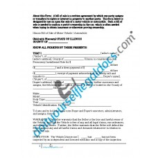 Bill of Sale of Motor Vehicle Automobile - Illinois - (Sold with Warranty)