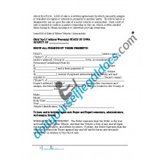 Bill of Sale of Motor Vehicle Automobile - Iowa (Sold without Warranty)