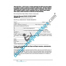 Bill of Sale of Motor Vehicle Automobile - New Jersey (Sold with Warranty)