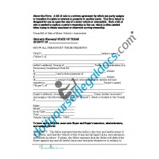 Bill of Sale of Motor Vehicle Automobile - Texas (Sold with Warranty)
