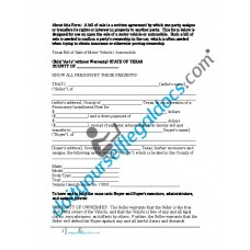 Bill of Sale of Motor Vehicle Automobile - Texas (Sold without Warranty)