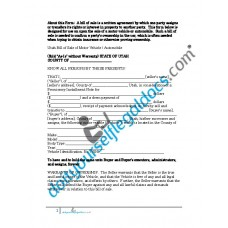Bill of Sale of Motor Vehicle Automobile - Utah (Sold without Warranty)