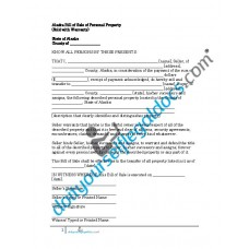 Bill of Sale of Personal Property - Alaska (Warranty)