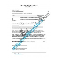 Bill of Sale of Personal Property - Arkansas (Warranty)