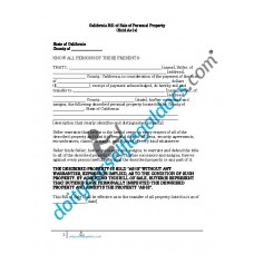 Bill of Sale of Personal Property - California (No Warranty)
