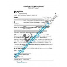 Bill of Sale of Personal Property - California (Warranty)