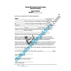 Bill of Sale of Personal Property - Colorado (Warranty)