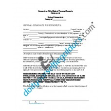 Bill of Sale of Personal Property - Connecticut (No Warranty)