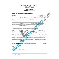 Bill of Sale of Personal Property - Florida (With Warranty)