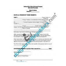 Bill of Sale of Personal Property - Indiana (With Warranty)