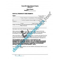Bill of Sale of Personal Property - Kansas (No Warranty)