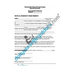 Bill of Sale of Personal Property - Kentucky (With Warranty)