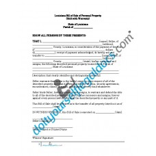 Bill of Sale of Personal Property - Louisiana (With Warranty)