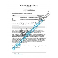 Bill of Sale of Personal Property - Maryland (No Warranty)