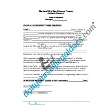 Bill of Sale of Personal Property - Maryland (With Warranty)