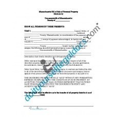 Bill of Sale of Personal Property - Massachusetts (No Warranty)
