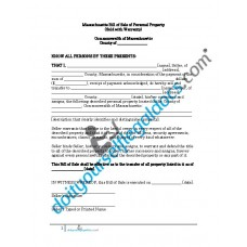Bill of Sale of Personal Property - Massachusetts (With Warranty)