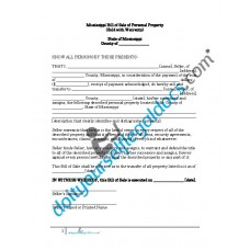 Bill of Sale of Personal Property - Mississippi (Warranty)