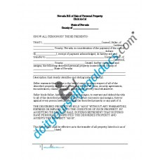 Bill of Sale of Personal Property - Nevada (No Warranty)