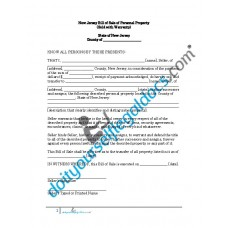 Bill of Sale of Personal Property - New Jersey (Warranty)