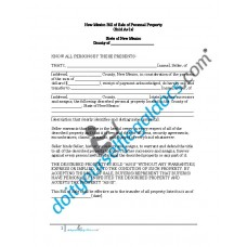 Bill of Sale of Personal Property - New Mexico (No Warranty)