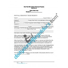 Bill of Sale of Personal Property - New York (No Warranty)