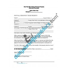 Bill of Sale of Personal Property - New York (Warranty)
