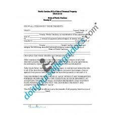 Bill of Sale of Personal Property - North Carolina (No Warranty)