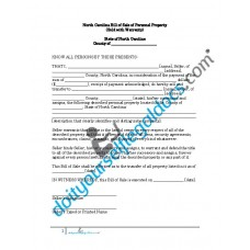 Bill of Sale of Personal Property - North Carolina (Warranty)