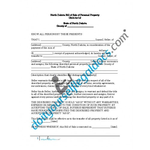 Bill Of Sale Of Personal Property North Dakota No Warranty Business Document Form Download Online