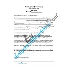 Bill of Sale of Personal Property - Ohio (Warranty)