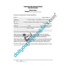 Bill of Sale of Personal Property - Oregon (Warranty)