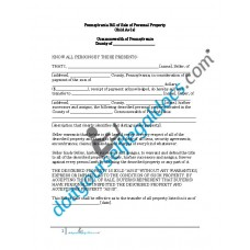 Bill of Sale of Personal Property - Pennsylvania (No Warranty)