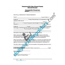 Bill of Sale of Personal Property - Pennsylvania (Warranty)
