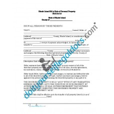 Bill of Sale of Personal Property - Rhode Island (No Warranty)